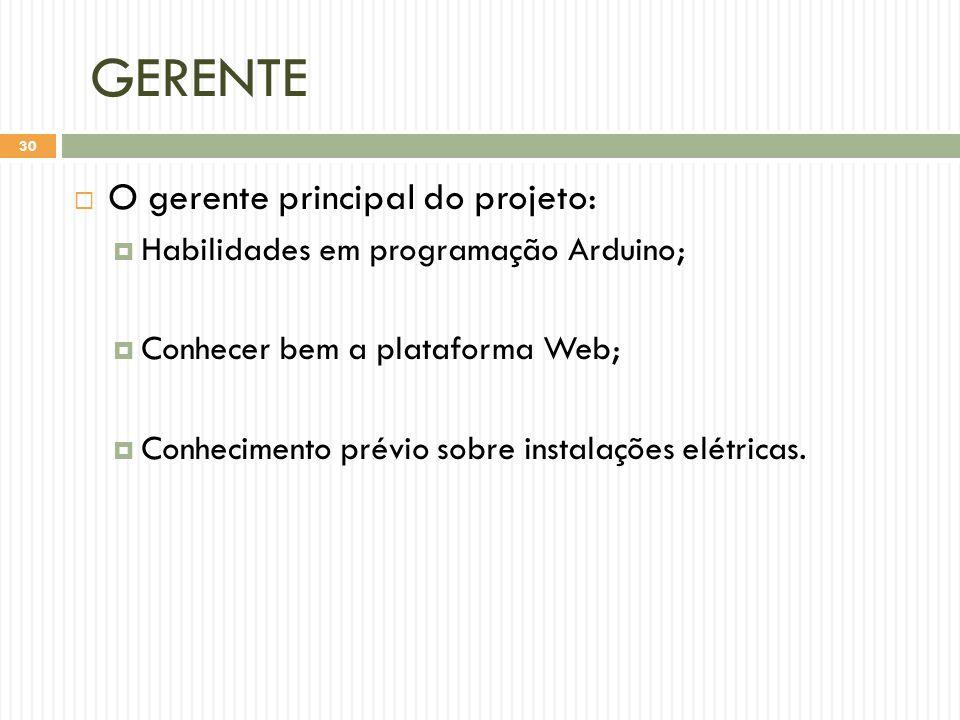 GERENTE  O gerente principal do projeto:  Habilidades em programação Arduino;  Conhecer bem a plataforma Web;  Conhecimento prévio sobre instalações elétricas.