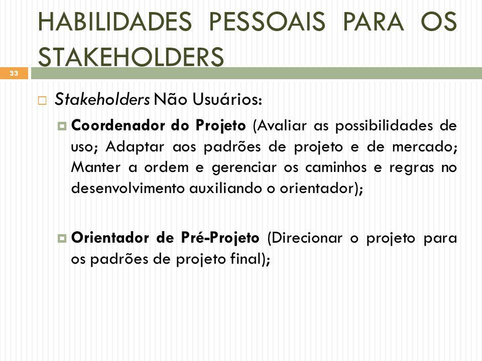 HABILIDADES PESSOAIS PARA OS STAKEHOLDERS  Stakeholders Não Usuários:  Coordenador do Projeto (Avaliar as possibilidades de uso; Adaptar aos padrões de projeto e de mercado; Manter a ordem e gerenciar os caminhos e regras no desenvolvimento auxiliando o orientador);  Orientador de Pré-Projeto (Direcionar o projeto para os padrões de projeto final); 33