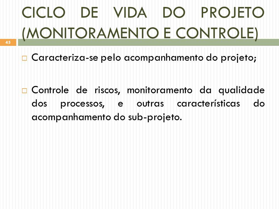 CICLO DE VIDA DO PROJETO (MONITORAMENTO E CONTROLE)  Caracteriza-se pelo acompanhamento do projeto;  Controle de riscos, monitoramento da qualidade dos processos, e outras características do acompanhamento do sub-projeto.