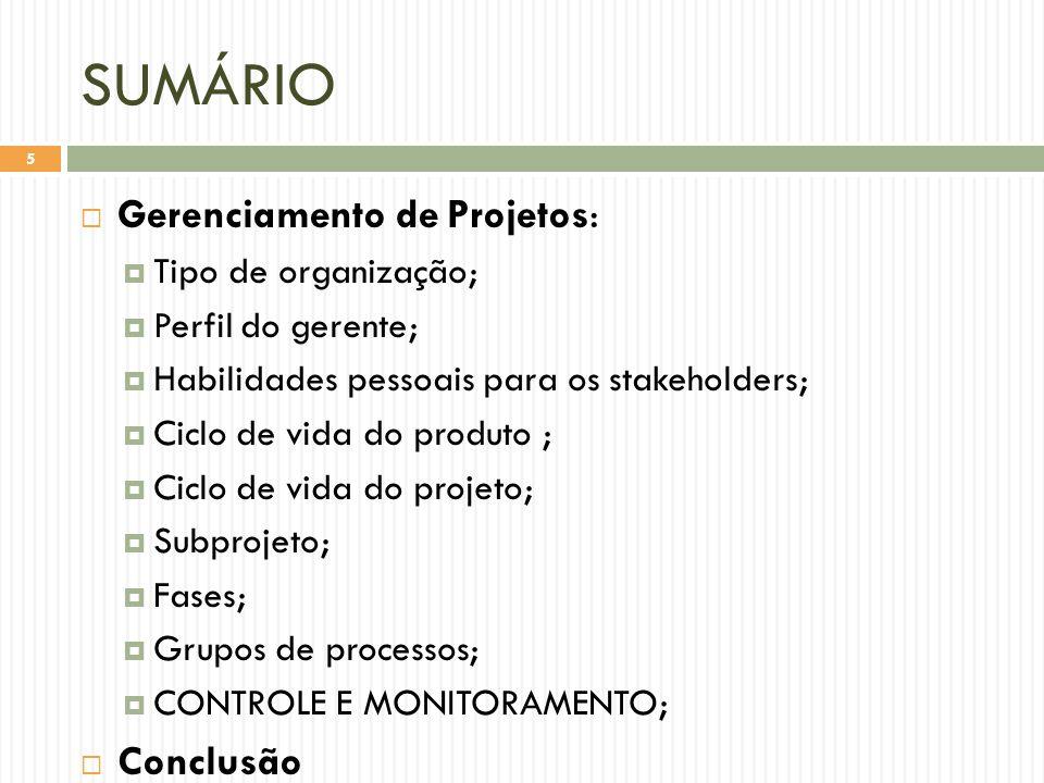 SUMÁRIO  Gerenciamento de Projetos:  Tipo de organização;  Perfil do gerente;  Habilidades pessoais para os stakeholders;  Ciclo de vida do produto ;  Ciclo de vida do projeto;  Subprojeto;  Fases;  Grupos de processos;  CONTROLE E MONITORAMENTO;  Conclusão 5