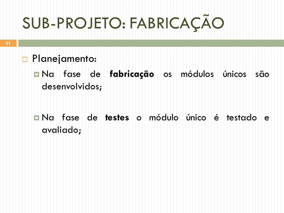 SUB-PROJETO: FABRICAÇÃO  Planejamento:  Na fase de fabricação os módulos únicos são desenvolvidos;  Na fase de testes o módulo único é testado e avaliado; 51