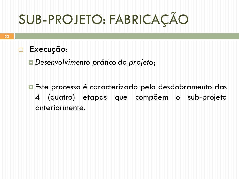 SUB-PROJETO: FABRICAÇÃO  Execução:  Desenvolvimento prático do projeto;  Este processo é caracterizado pelo desdobramento das 4 (quatro) etapas que compõem o sub-projeto anteriormente.