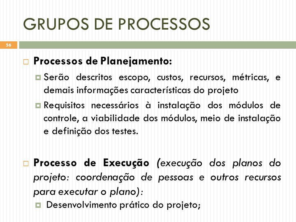 GRUPOS DE PROCESSOS  Processos de Planejamento:  Serão descritos escopo, custos, recursos, métricas, e demais informações características do projeto  Requisitos necessários à instalação dos módulos de controle, a viabilidade dos módulos, meio de instalação e definição dos testes.