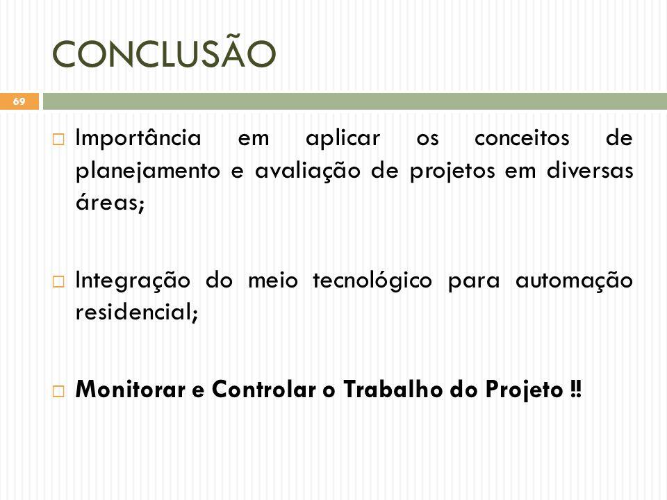CONCLUSÃO  Importância em aplicar os conceitos de planejamento e avaliação de projetos em diversas áreas;  Integração do meio tecnológico para automação residencial;  Monitorar e Controlar o Trabalho do Projeto !.