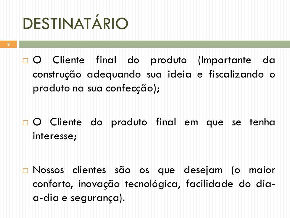 TIPO  Artefato:  Algo palpável passível de venda;  Serviço:  Trabalho prestado ao cliente, onde ele pode participar do processo do trabalho ou não;  Resultado:  Dentro de um cronograma em uma empresa, ou parte do produto pronta dentro do prazo.