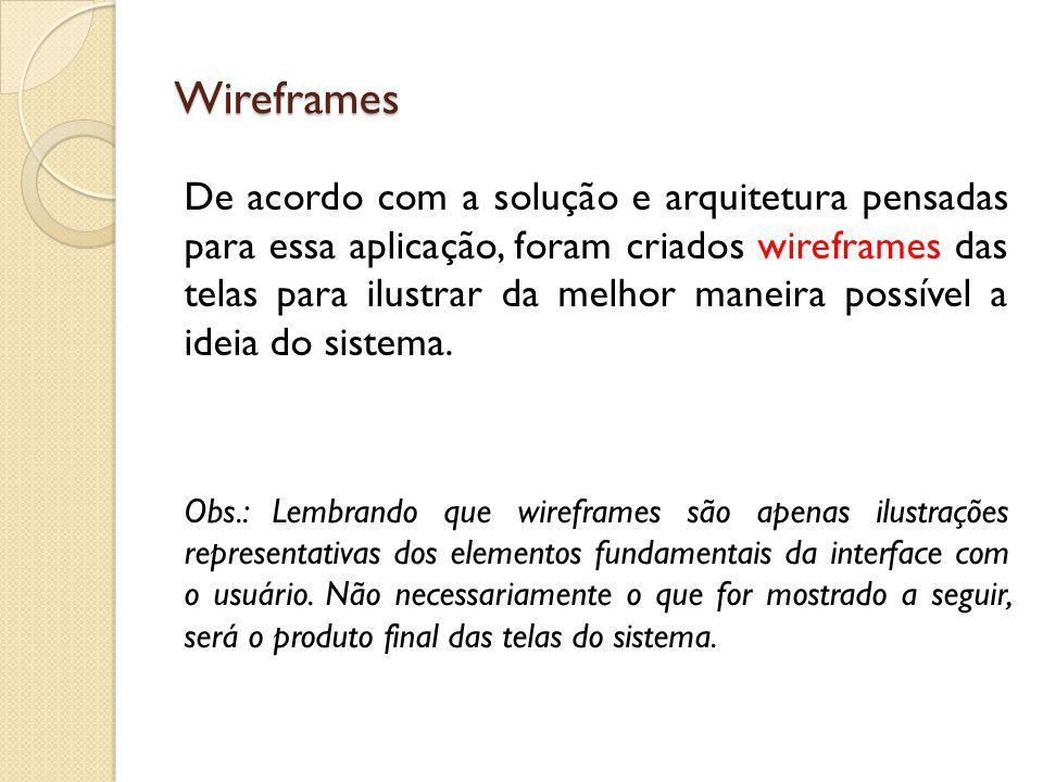 Wireframes De acordo com a solução e arquitetura pensadas para essa aplicação, foram criados wireframes das telas para ilustrar da melhor maneira poss