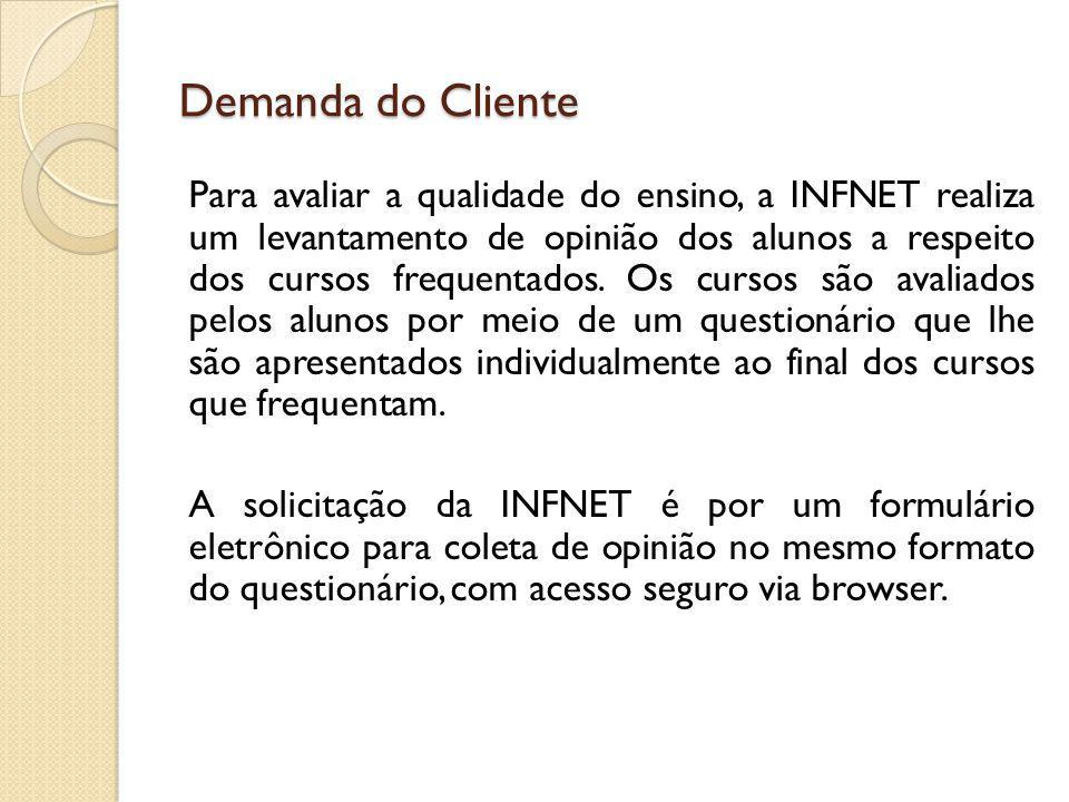 Demanda do Cliente Para avaliar a qualidade do ensino, a INFNET realiza um levantamento de opinião dos alunos a respeito dos cursos frequentados. Os c