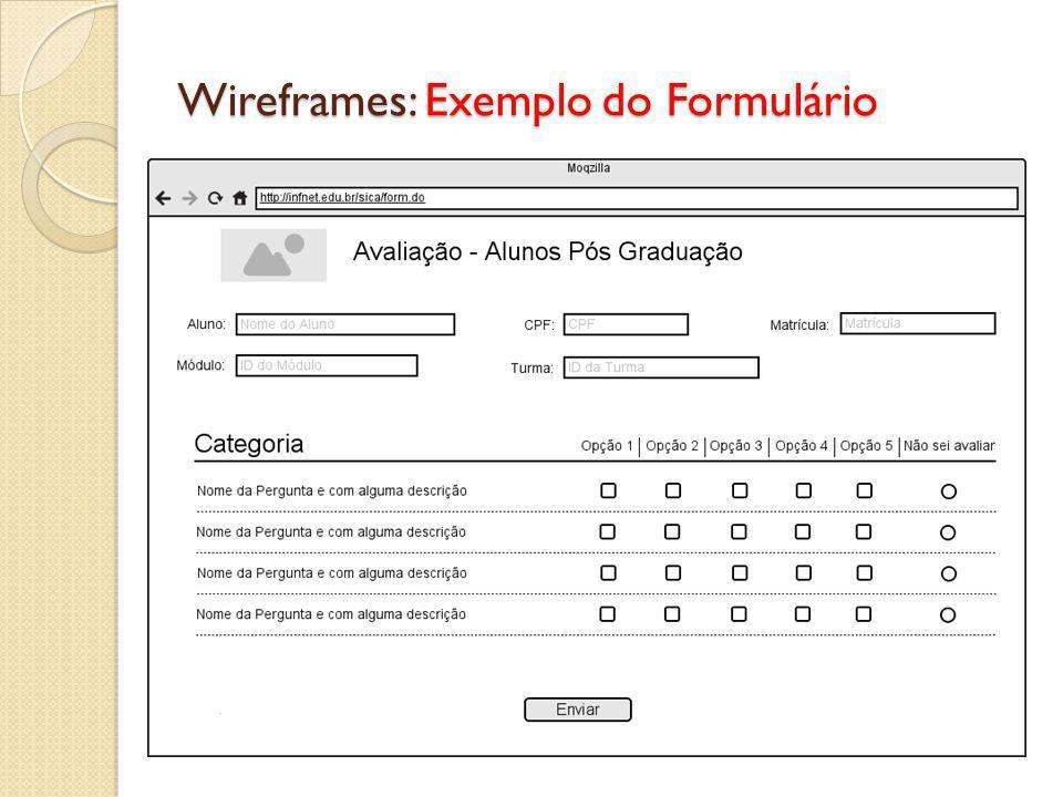 Wireframes: Exemplo do Formulário