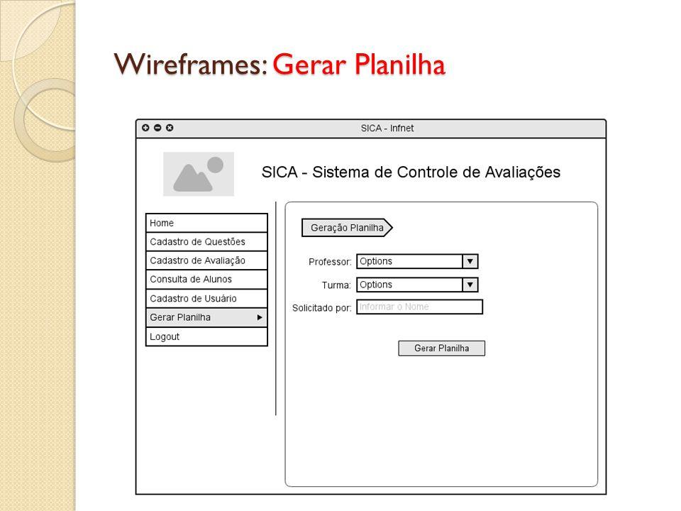 Wireframes: Gerar Planilha