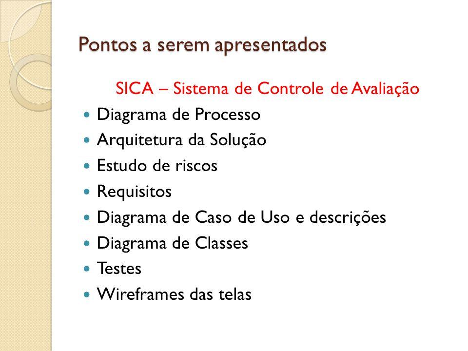 Pontos a serem apresentados SICA – Sistema de Controle de Avaliação Diagrama de Processo Arquitetura da Solução Estudo de riscos Requisitos Diagrama d