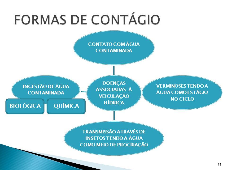 DOENÇAS ASSOCIADAS À VEICULAÇÃO HÍDRICA CONTATO COM ÁGUA CONTAMINADA VERMINOSES TENDO A ÁGUA COMO ESTÁGIO NO CICLO TRANSMISSÃO ATRAVÉS DE INSETOS TENDO A ÁGUA COMO MEIO DE PROCRIAÇÃO INGESTÃO DE ÁGUA CONTAMINADA BIOLÓGICAQUÍMICA 13