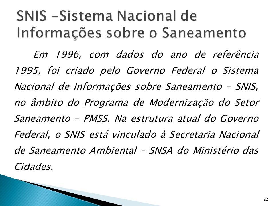 Em 1996, com dados do ano de referência 1995, foi criado pelo Governo Federal o Sistema Nacional de Informações sobre Saneamento – SNIS, no âmbito do Programa de Modernização do Setor Saneamento – PMSS.
