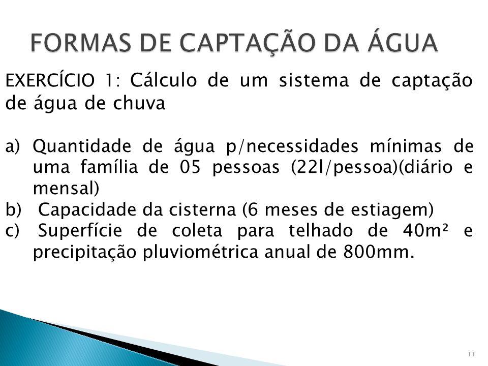 11 EXERCÍCIO 1: Cálculo de um sistema de captação de água de chuva a)Quantidade de água p/necessidades mínimas de uma família de 05 pessoas (22l/pesso