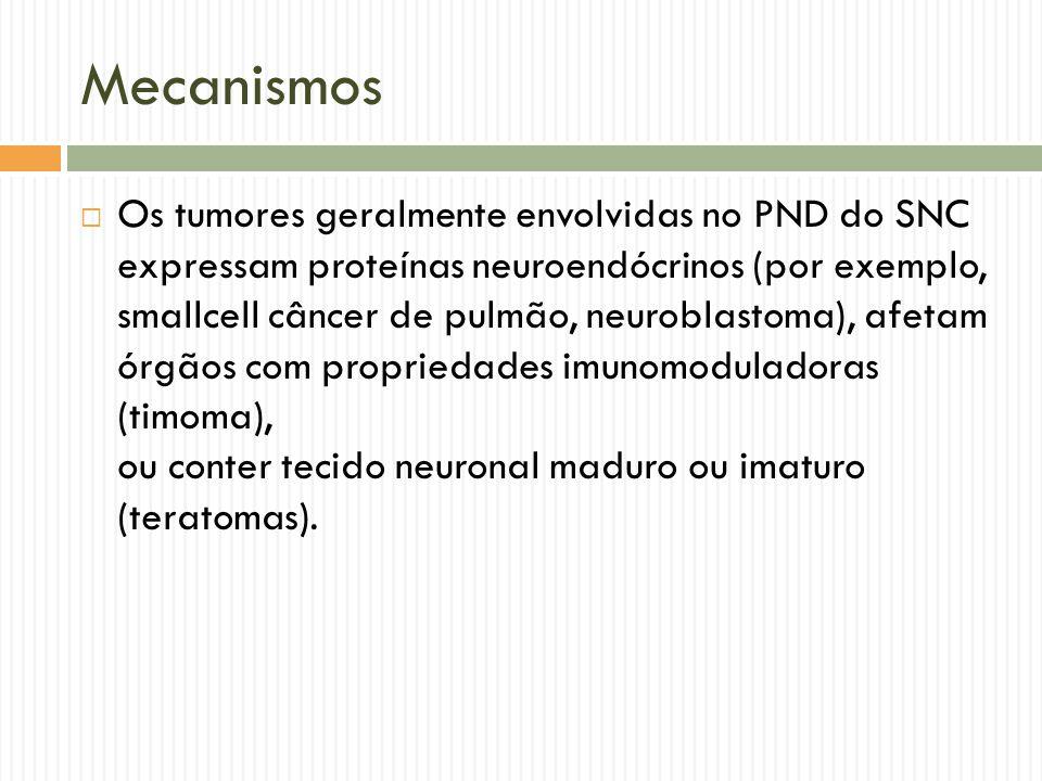 Mecanismos  Os tumores que derivam de células que produzem imunoglobulinas (discrasias de células plasmáticas, linfomas de células B) são mais comumente envolvidos em PND do sistema nervoso periférico do que os outros tipos.