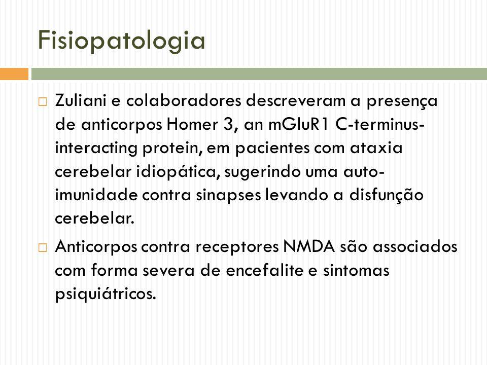 Fisiopatologia  Zuliani e colaboradores descreveram a presença de anticorpos Homer 3, an mGluR1 C-terminus- interacting protein, em pacientes com ata