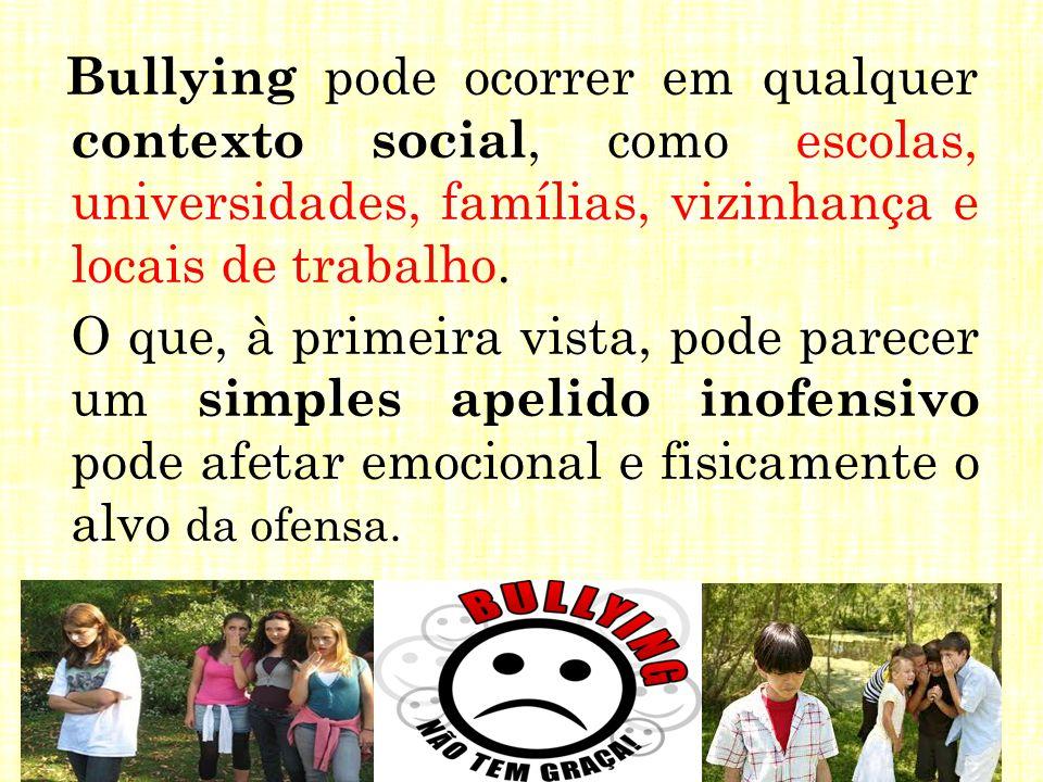 Bullying pode ocorrer em qualquer contexto social, como escolas, universidades, famílias, vizinhança e locais de trabalho. O que, à primeira vista, po