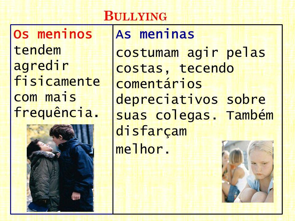 B ULLYING Os meninos tendem agredir fisicamente com mais frequência. As meninas costumam agir pelas costas, tecendo comentários depreciativos sobre su