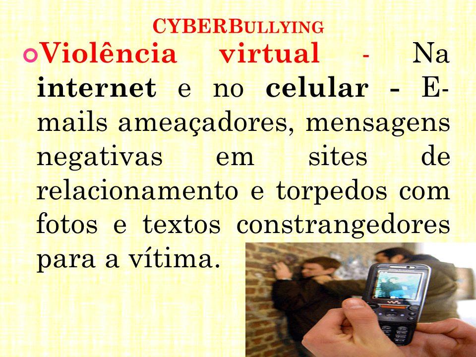 CYBERB ULLYING Violência virtual - Na internet e no celular - E- mails ameaçadores, mensagens negativas em sites de relacionamento e torpedos com foto