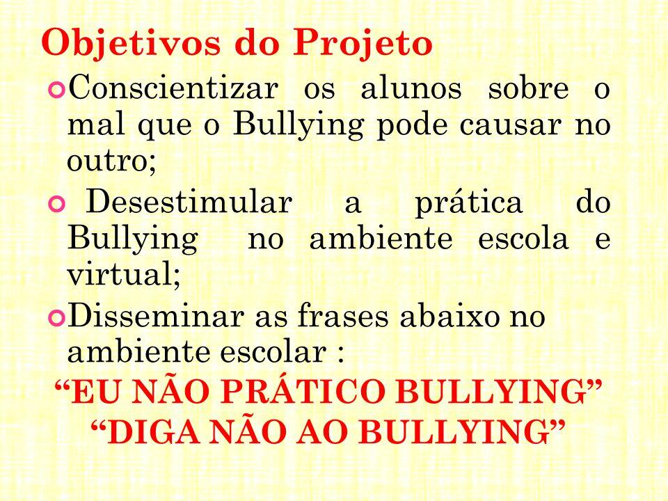 Objetivos do Projeto Conscientizar os alunos sobre o mal que o Bullying pode causar no outro; Desestimular a prática do Bullying no ambiente escola e