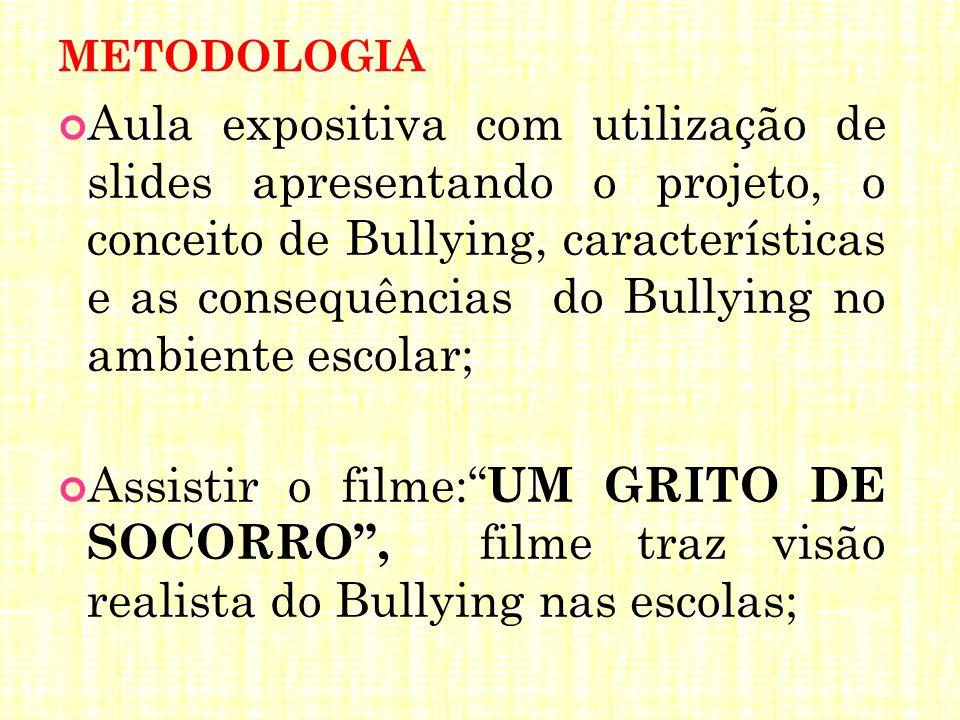 METODOLOGIA Aula expositiva com utilização de slides apresentando o projeto, o conceito de Bullying, características e as consequências do Bullying no