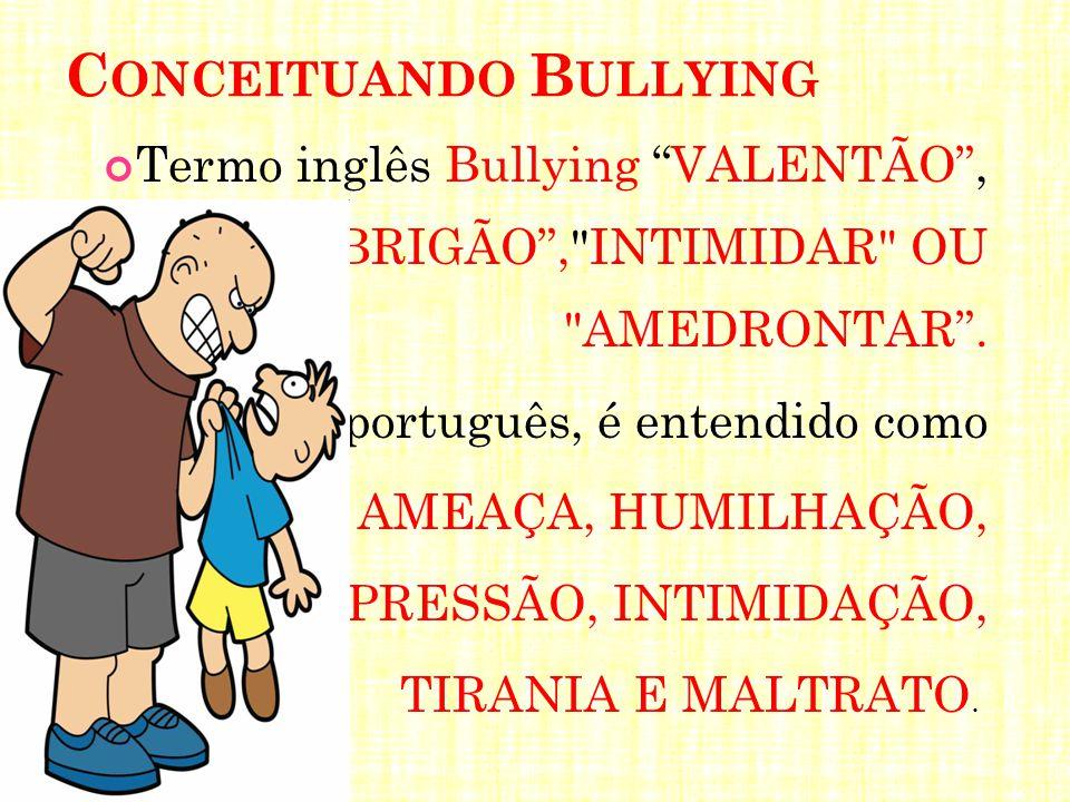 """C ONCEITUANDO B ULLYING Termo inglês Bullying """"VALENTÃO"""", """"BRIGÃO"""","""