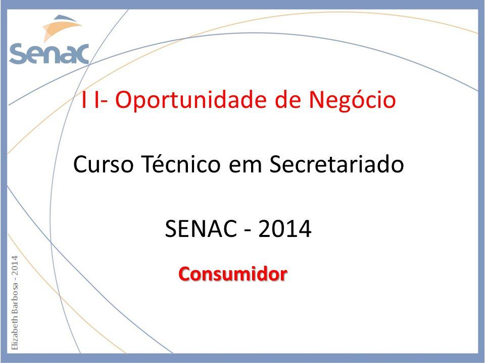 I I- Oportunidade de Negócio Curso Técnico em Secretariado SENAC - 2014 Consumidor