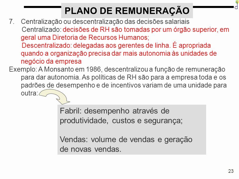 23 PLANO DE REMUNERAÇÃO 7.Centralização ou descentralização das decisões salariais Centralizado: decisões de RH são tomadas por um órgão superior, em