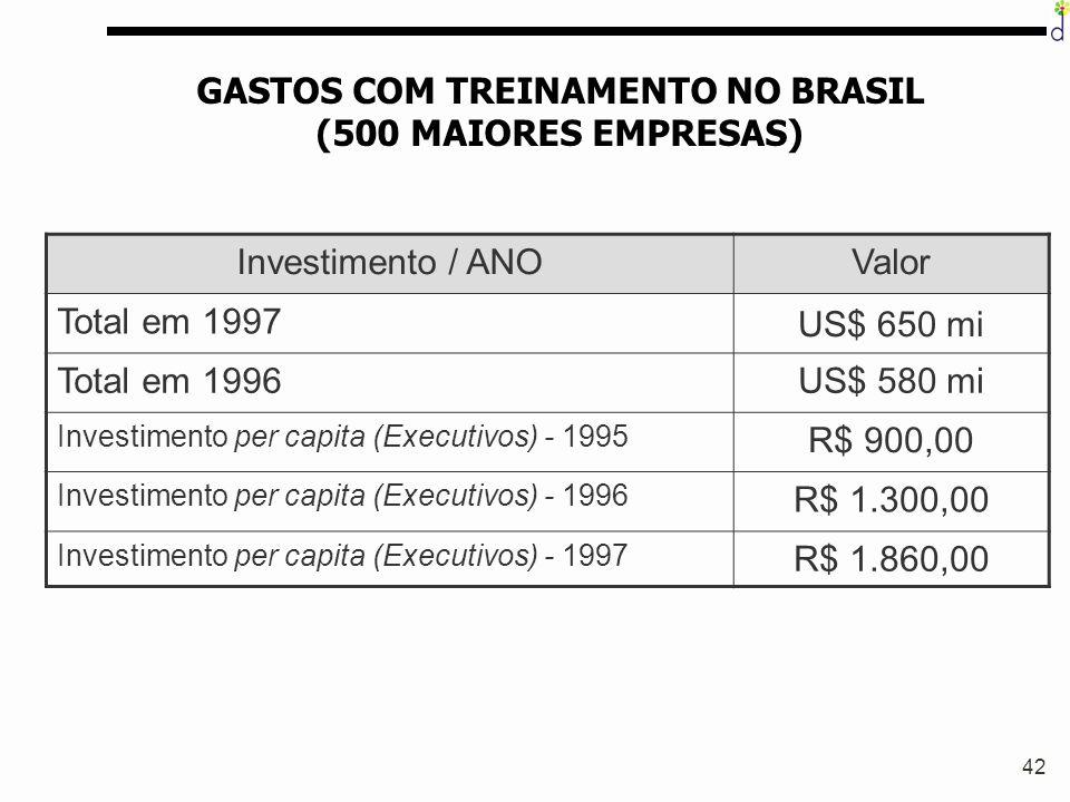 42 GASTOS COM TREINAMENTO NO BRASIL (500 MAIORES EMPRESAS) Investimento / ANOValor Total em 1997 US$ 650 mi Total em 1996US$ 580 mi Investimento per c