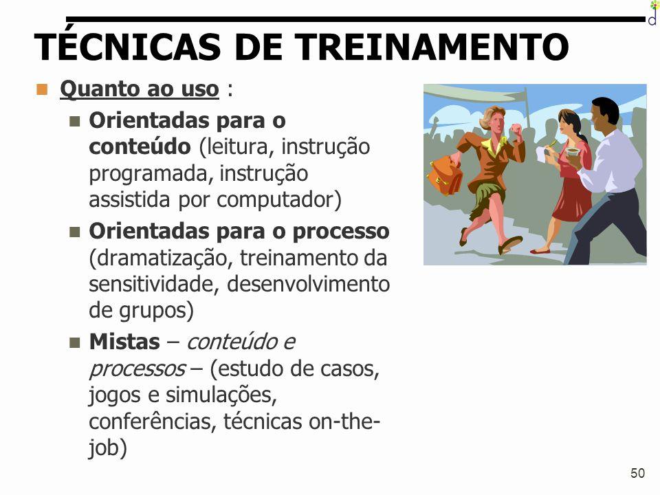 50 TÉCNICAS DE TREINAMENTO Quanto ao uso : Orientadas para o conteúdo (leitura, instrução programada, instrução assistida por computador) Orientadas p