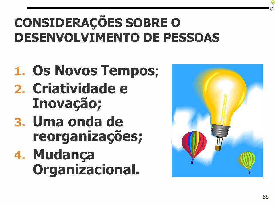 58 CONSIDERAÇÕES SOBRE O DESENVOLVIMENTO DE PESSOAS 1. Os Novos Tempos ; 2. Criatividade e Inovação; 3. Uma onda de reorganizações; 4. Mudança Organiz