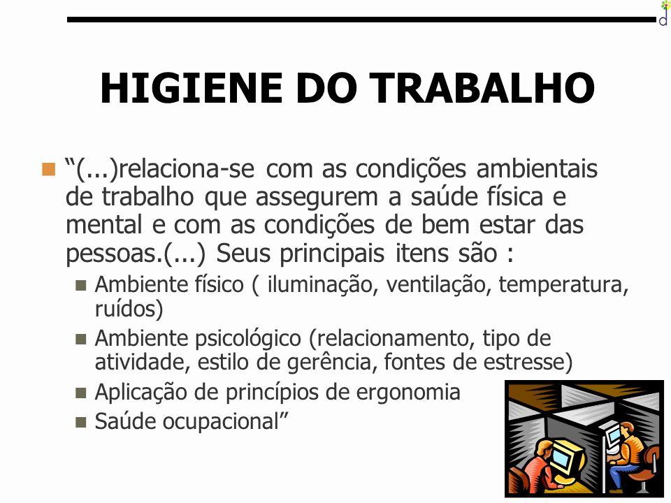 """61 HIGIENE DO TRABALHO """"(...)relaciona-se com as condições ambientais de trabalho que assegurem a saúde física e mental e com as condições de bem esta"""