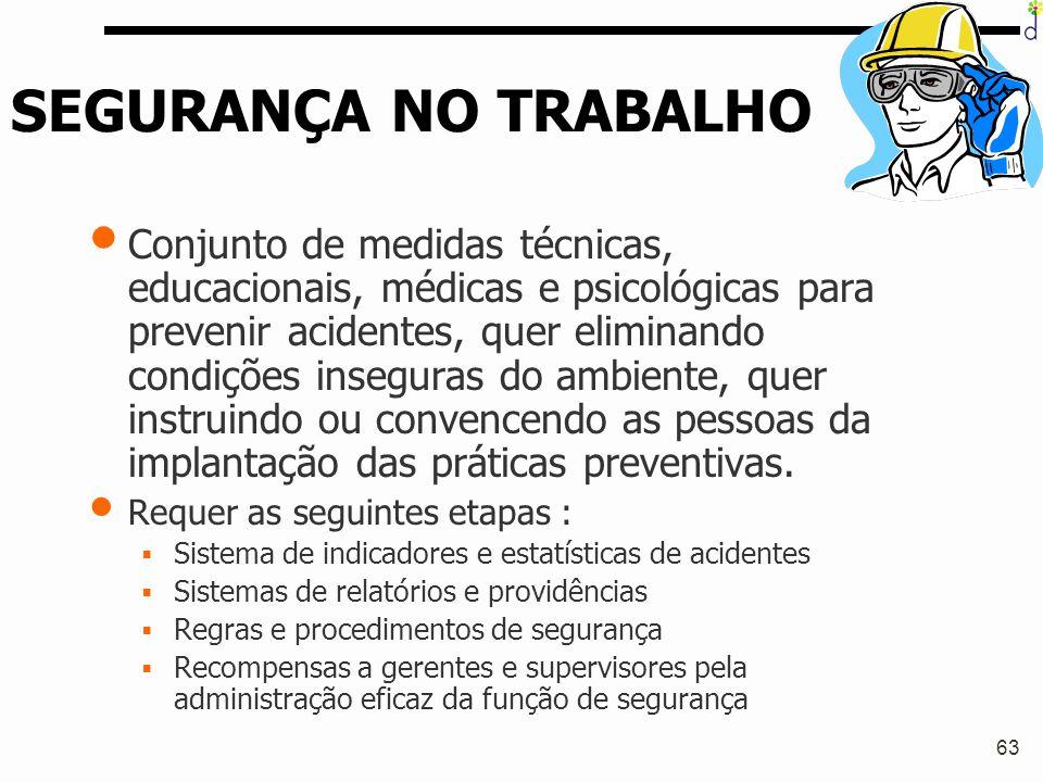 63 SEGURANÇA NO TRABALHO Conjunto de medidas técnicas, educacionais, médicas e psicológicas para prevenir acidentes, quer eliminando condições insegur
