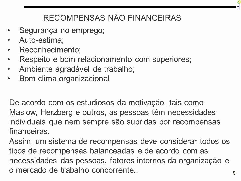 8 RECOMPENSAS NÃO FINANCEIRAS Segurança no emprego; Auto-estima; Reconhecimento; Respeito e bom relacionamento com superiores; Ambiente agradável de t