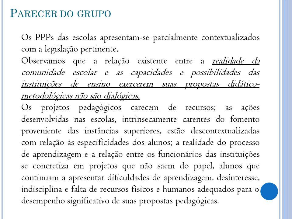 P ARECER DO GRUPO Os PPPs das escolas apresentam-se parcialmente contextualizados com a legislação pertinente. Observamos que a relação existente entr