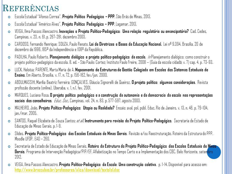 """R EFERÊNCIAS Escola Estadual """"Afonso Correa"""". Projeto Político Pedagógico – PPP. São Brás de Minas, 2013. Escola Estadual """"Américo Alves"""". Projeto Pol"""