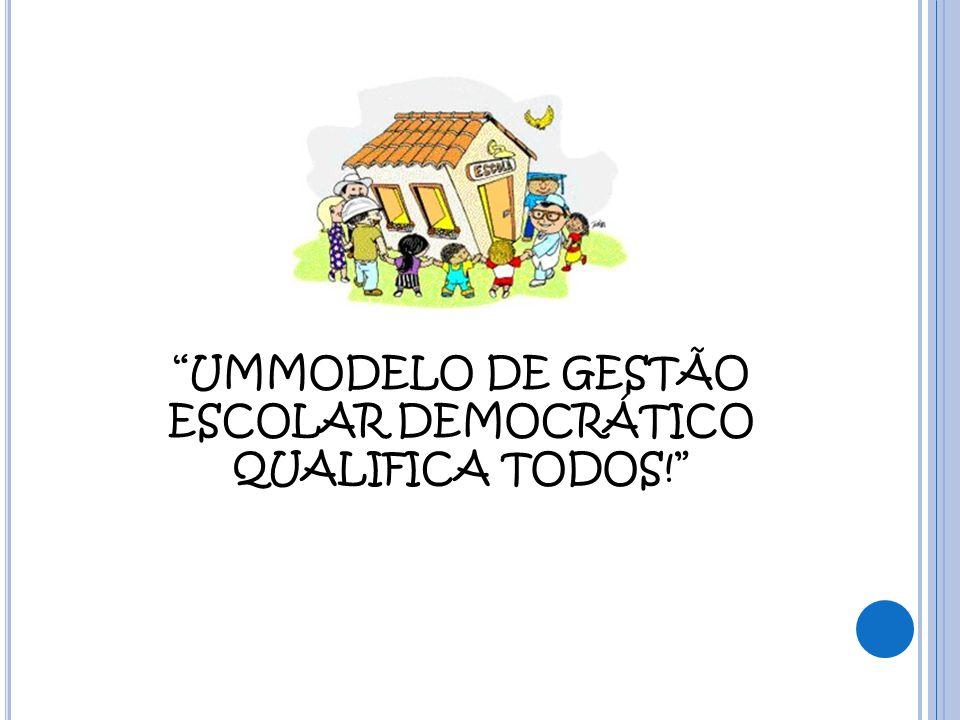 """""""UMMODELO DE GESTÃO ESCOLAR DEMOCRÁTICO QUALIFICA TODOS!"""""""