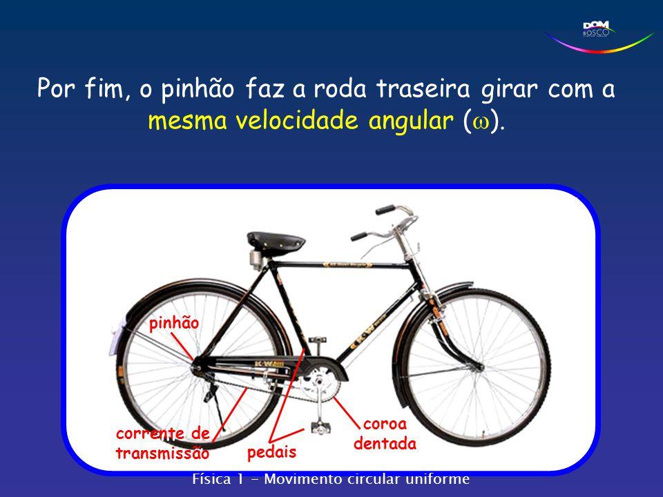 pedais coroa dentada corrente de transmissão pinhão Por fim, o pinhão faz a roda traseira girar com a mesma velocidade angular (  ). Física 1 - Movim