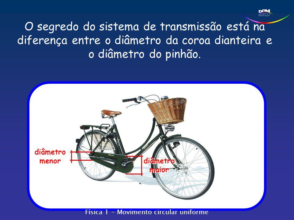 O segredo do sistema de transmissão está na diferença entre o diâmetro da coroa dianteira e o diâmetro do pinhão. diâmetro maior diâmetro menor Física