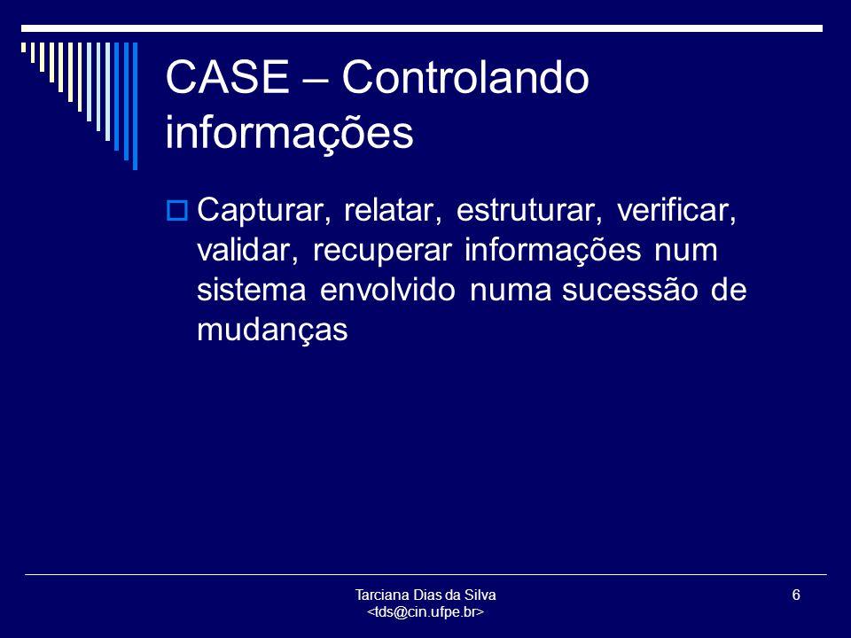 Tarciana Dias da Silva 7 CASE: Gerenciando projetos, o processo de desenvolvimento e seu produto  Tarefas para o gerenciamento de projetos: Planejamento do projeto, Alocação e Controle de Recursos, Sequenciamento de Atividades, Controle de Progresso, Resolução de Conflitos, Documentação e Comunicação do Projeto  Tarefas para o gerenciamento de processos: Análogo às tarefas citadas acima, incluindo orientação e controle de desenvolvimento técnico
