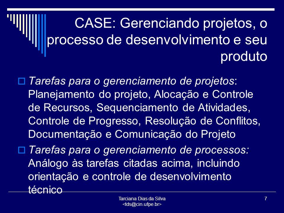 Tarciana Dias da Silva 8 CASE: Gerenciando projetos, o processo de desenvolvimento e seu produto  Tarefas para Gerenciamento de Produtos: Manter a disponibilidade, validação e compatibilidade dos elementos do sistema, junto com um registro de sua história e configurações operacionais