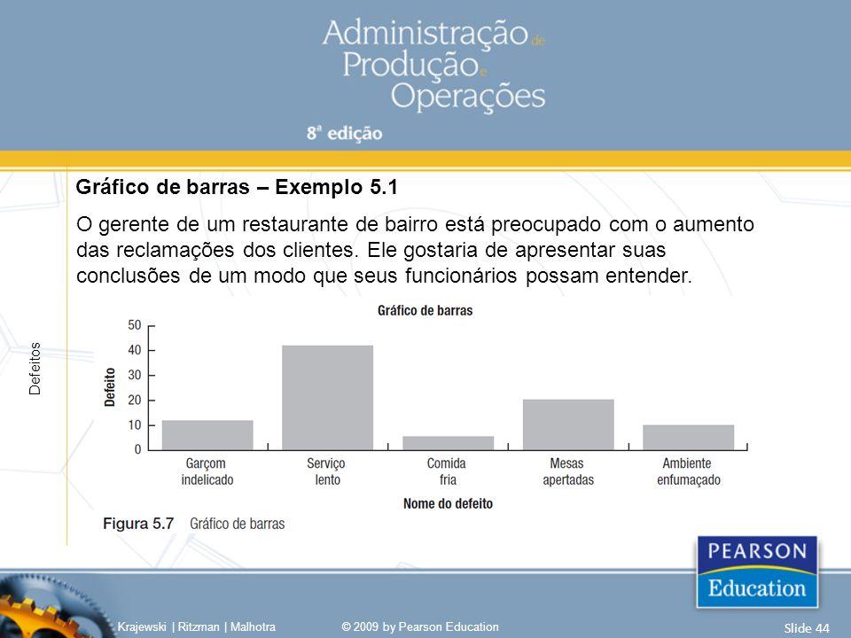 Diagrama de pareto Exemplo 5.1 Capítulo 5 | Análise de processos Krajewski | Ritzman | Malhotra© 2009 by Pearson Education Slide 45 Diagrama de Pareto – Exemplo 5.1