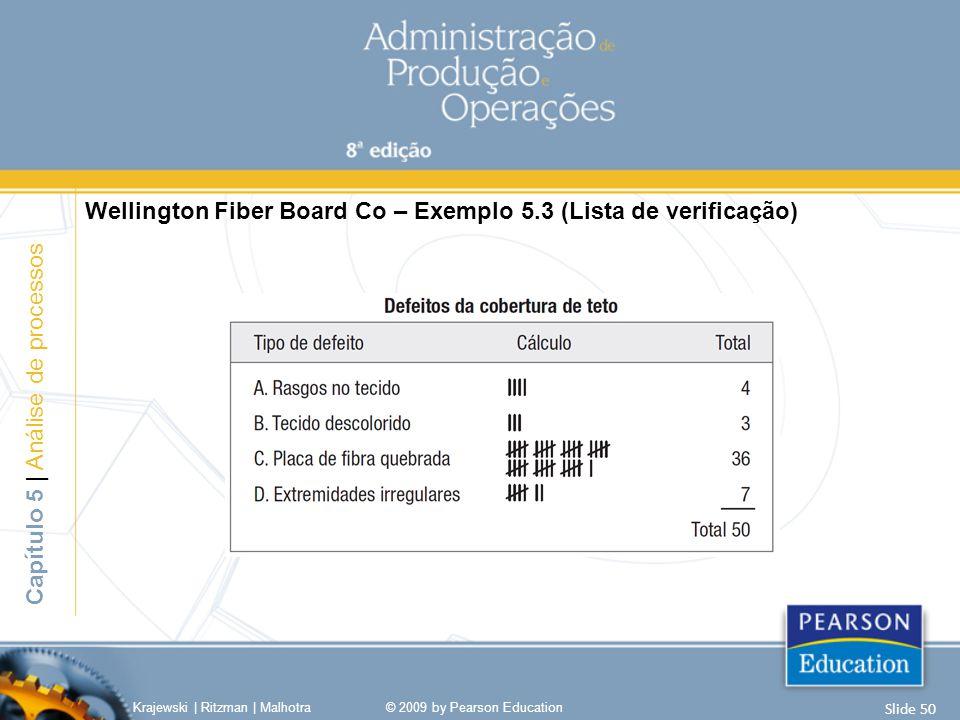 Wellington Fiber Board Co – Exemplo 5.3 (Lista de verificação) Capítulo 5 | Análise de processos Krajewski | Ritzman | Malhotra© 2009 by Pearson Educa