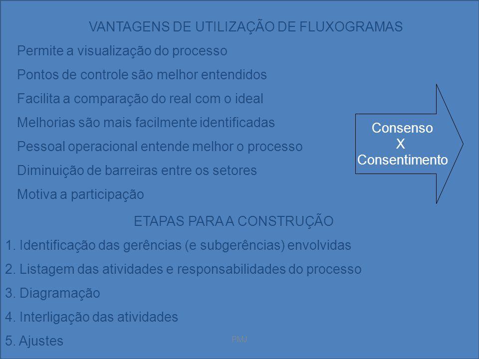 PMJ VANTAGENS DE UTILIZAÇÃO DE FLUXOGRAMAS Permite a visualização do processo Pontos de controle são melhor entendidos Facilita a comparação do real c