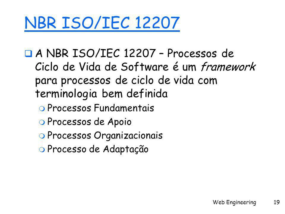 Web Engineering19 NBR ISO/IEC 12207  A NBR ISO/IEC 12207 – Processos de Ciclo de Vida de Software é um framework para processos de ciclo de vida com terminologia bem definida  Processos Fundamentais  Processos de Apoio  Processos Organizacionais  Processo de Adaptação