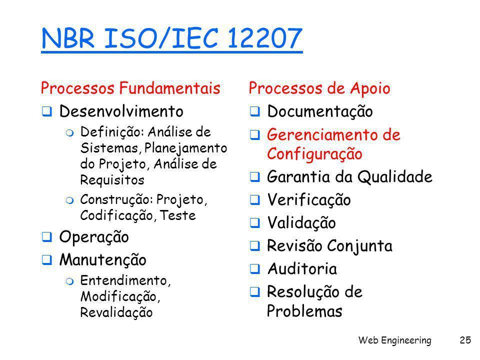 Web Engineering25 NBR ISO/IEC 12207 Processos Fundamentais  Desenvolvimento  Definição: Análise de Sistemas, Planejamento do Projeto, Análise de Requisitos  Construção: Projeto, Codificação, Teste  Operação  Manutenção  Entendimento, Modificação, Revalidação Processos de Apoio  Documentação  Gerenciamento de Configuração  Garantia da Qualidade  Verificação  Validação  Revisão Conjunta  Auditoria  Resolução de Problemas
