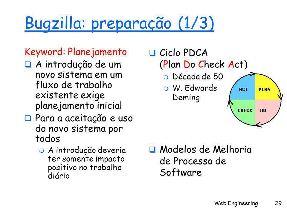 Web Engineering29 Bugzilla: preparação (1/3) Keyword: Planejamento  A introdução de um novo sistema em um fluxo de trabalho existente exige planejame