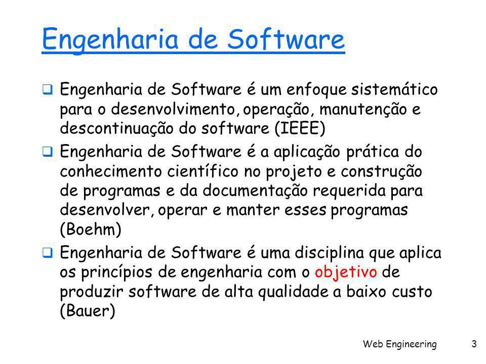 Web Engineering3 Engenharia de Software  Engenharia de Software é um enfoque sistemático para o desenvolvimento, operação, manutenção e descontinuaçã