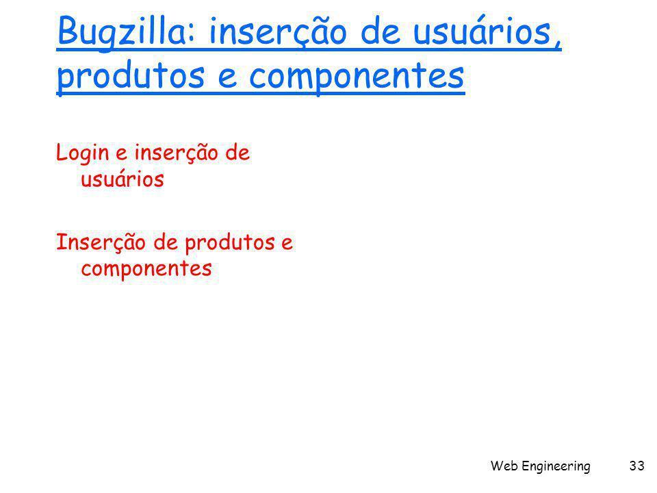 Web Engineering33 Bugzilla: inserção de usuários, produtos e componentes Login e inserção de usuários Inserção de produtos e componentes