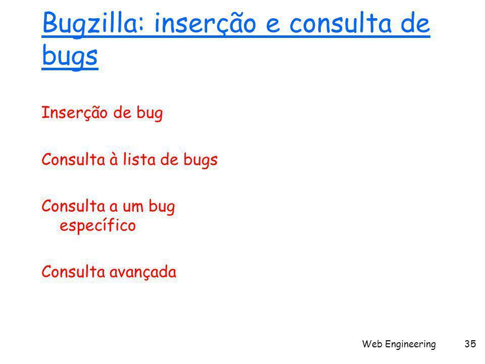 Web Engineering35 Bugzilla: inserção e consulta de bugs Inserção de bug Consulta à lista de bugs Consulta a um bug específico Consulta avançada