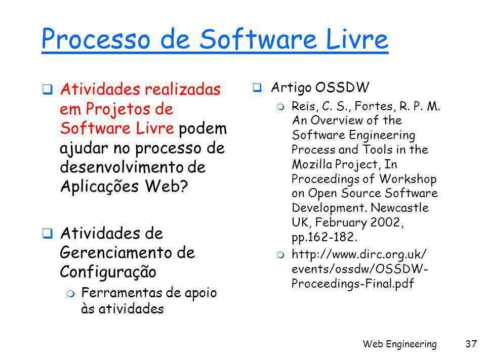 Web Engineering37 Processo de Software Livre  Atividades realizadas em Projetos de Software Livre podem ajudar no processo de desenvolvimento de Apli